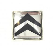 Emblema de Resina Citroen Prata Quadrado P/ Chave Canivete Original (min. 10 pçs)